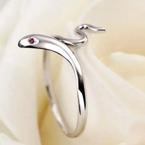 Silver Snake Ring W/ Ruby Red Eyes FIRM PRICE